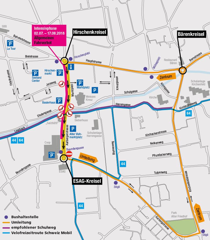 Plan provisorische Verkehrsführung ab 03. April 2018